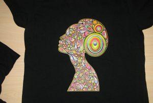 Black T-shirt- ի տպագրական նմուշը, A2- ի T-shirt տպիչով WER-D4880T